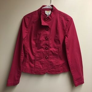 Talbots Red Stretch Button Down Jacket